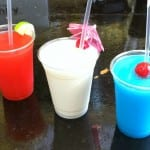 Photo of blue, red and white cocktails